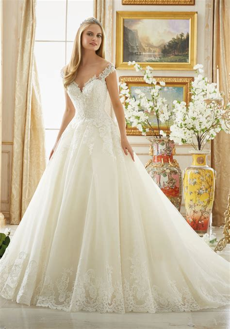 Lace Style Wedding Dresses by Beading On Alencon Lace With Scalloped Hemline Style