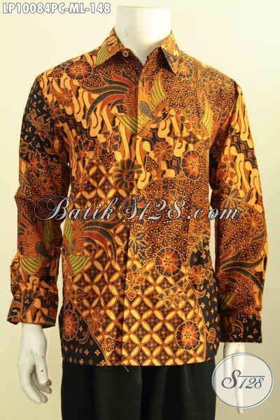 Kemeja Batik Kawung Grompol Printing Lengan Panjang baju batik pria distro kemeja lengan panjang klasik printing bahan adem kwalitas bagus pas