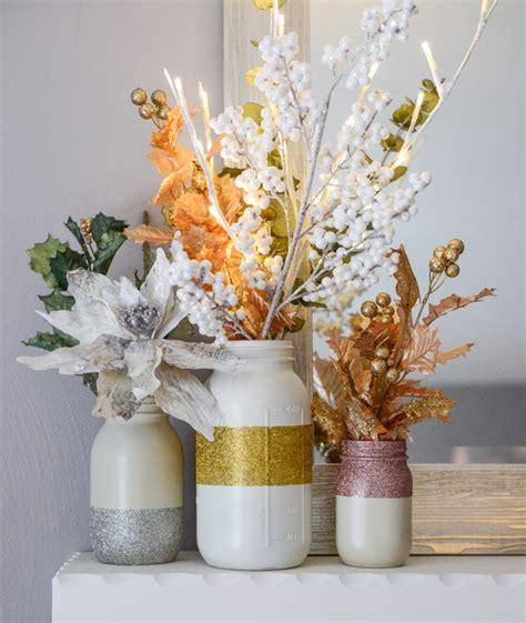 Cool Lamp Shades diy glittery winter white mason jars