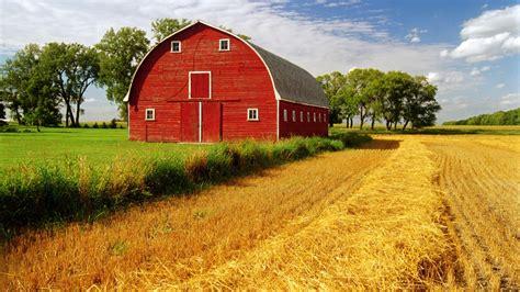 barn rustic farm landscapes fields crop grass sky clouds