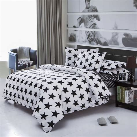 black and white bed set 3 4pcs cotton polyester black white printed bed set