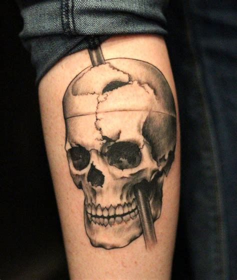slave to the needle tattoo black grey realistic realism skull to the