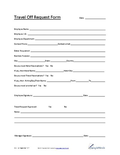 Travel Request Form Template 13 Ways On How To Prepare For Travel Request Form Template