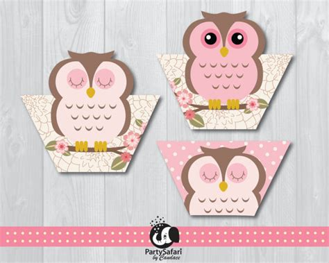 free printable owl cupcake wrappers woodland owl printable cupcake wraps pink owl cupcake wraps