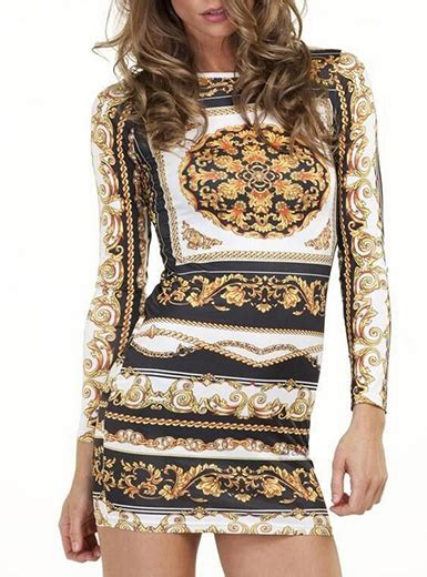 black and white pattern long sleeve dress mini dress white gold and black pattern long sleeves