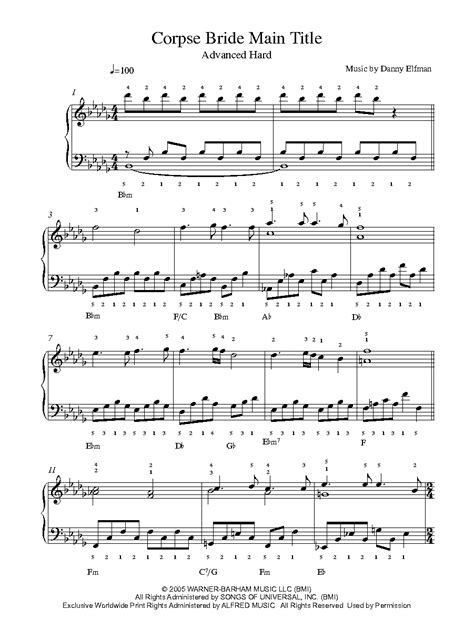 theme music from the bridge corpse bride main theme by danny elfman piano sheet music