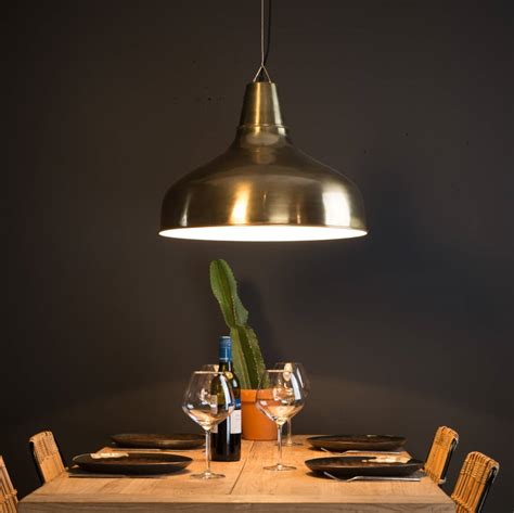 large industrial brass pendant light by ella