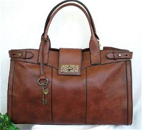 Fossil Satchel Large Brown Tas Branded Original Authentic nwt fossil vintage reissue brown leather weekender book bag ebay