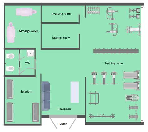 gym floor plan layout gym and spa area plans solution conceptdraw com