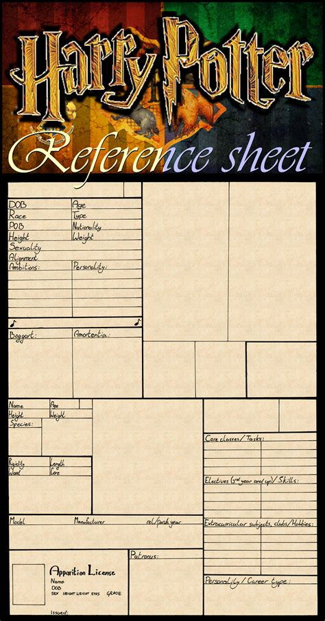 harry potter character reference sheet blank by tactical