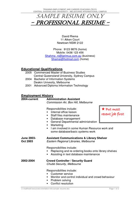 free sle of resume in word format driver resume format in word free resume exle and