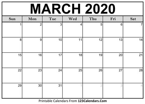 march  printable calendar calendarscom