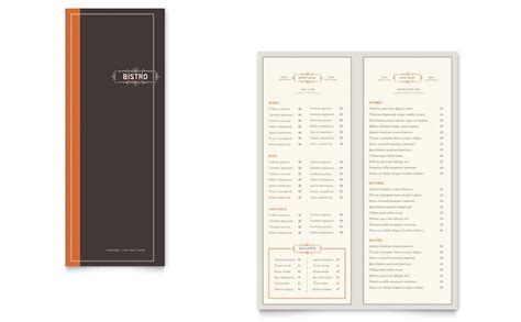 half fold menu template bistro bar take out brochure template design