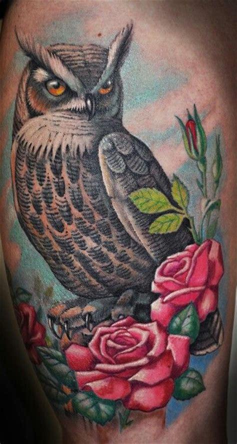 tattoo owl rose owl and roses tattoo tattoos 2 pinterest tattoo kits