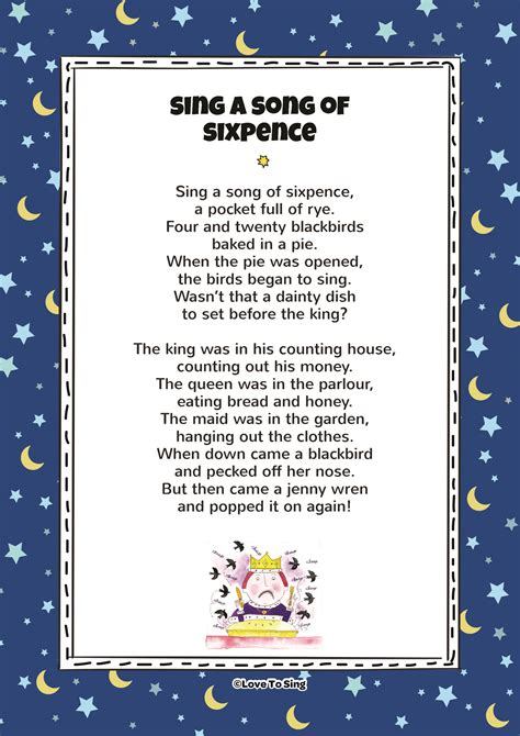 song to sing sing a song of sixpence song with free lyrics