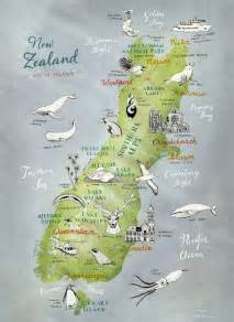 map of new zealand south island illustrated map by