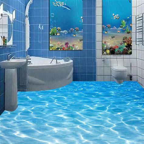 epoxy badezimmerboden modern bathroom custom 3d floor mural sea water ripples