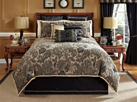black bedding queen alamosa 4 pc queen comforter set black tan