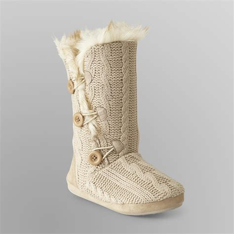 cable knit slipper boots bongo junior s cable knit slipper boots faux fur