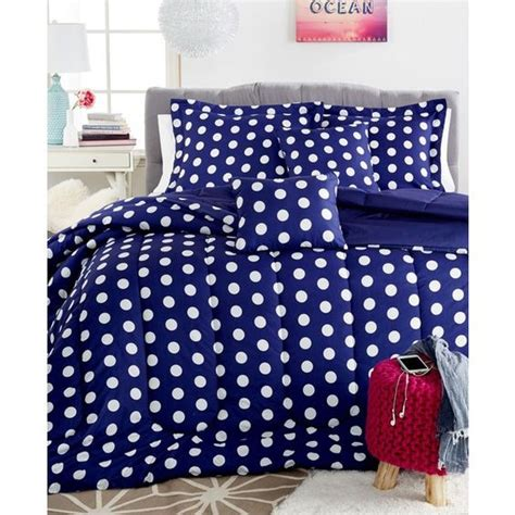 navy blue polka dot comforter dottie 5 pc full comforter set 58 cad liked on polyvore