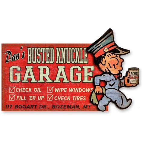 The Busted Knuckle Garage by Personalized Service Garage Shop Sign Busted