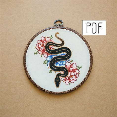 embroidery tattoo designs pdf pattern snake and flowers embroidery pattern