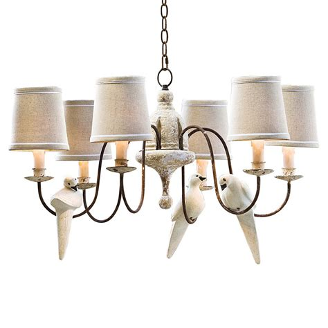 Moliere French Country 6 Light Rusted Arm Doves Chandelier Rusted Chandelier