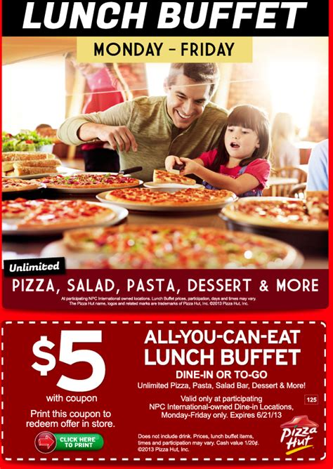 5 Pizza Hut Lunch Buffet With Coupon Al Com Coupons For Pizza Hut Buffet