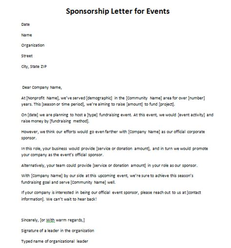 sample letter sponsorship request event