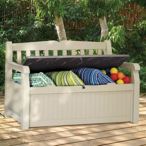 keter 70 gallon bench deck box keter eden new all weather outdoor patio bench deck box