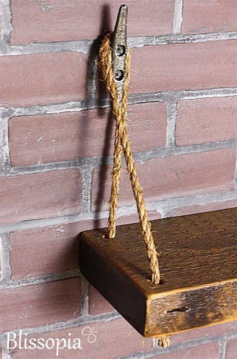 reclaimed boat shelf rustic reclaimed rope shelf with boat cleat hangers by