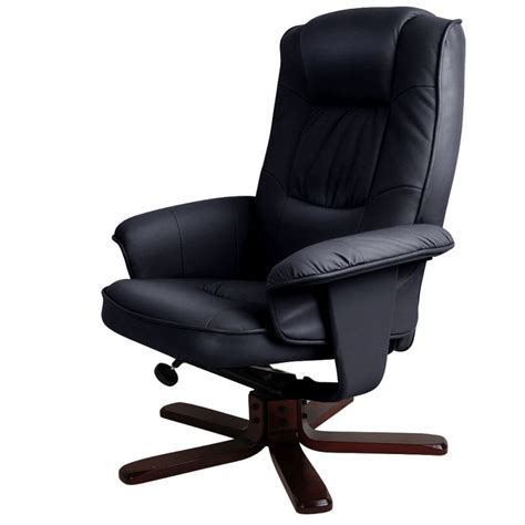 Black Leather Swivel Recliner Chair by Black Pu Leather Recliner Swivel Arm Chair Ottoman Buy