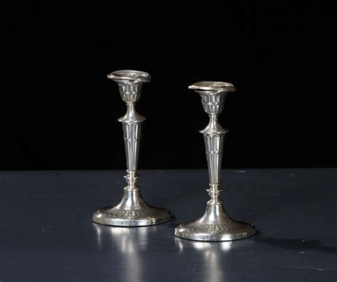 candelieri in argento coppia di candelieri in argento inghilterra xix secolo