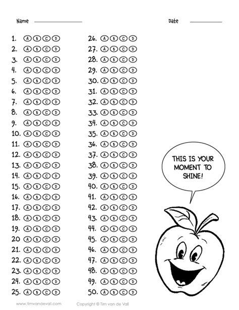 printable 50 question answer sheet pdf choice a