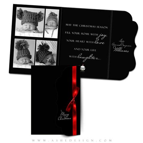 folded luxe card templates ashe design jingle bell black folded luxe cards