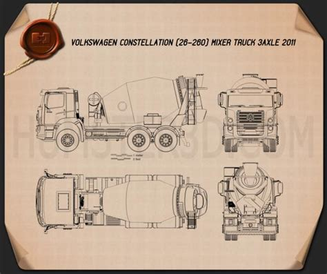 Blueprint Photo Paper 260 volkswagen constellation 26 260 mixer truck 3 axle 2011 blueprint hum3d