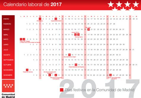 Calendario Laboral 2017 Madrid Capital Calendario Laboral 2017 Madrid De Opcionis