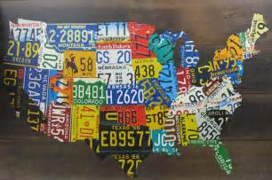 usa license plate map print