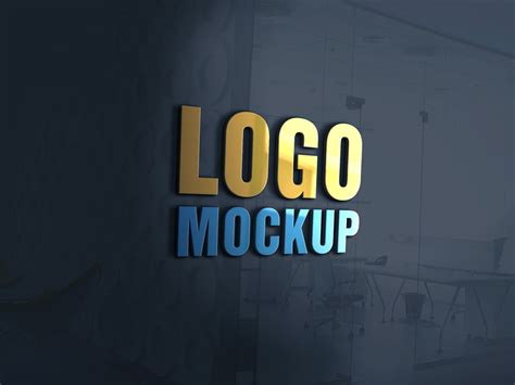 3d wall logo mockup template free 3d glass window logo mockup