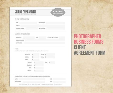photography business forms templates photography business forms client agreement contract