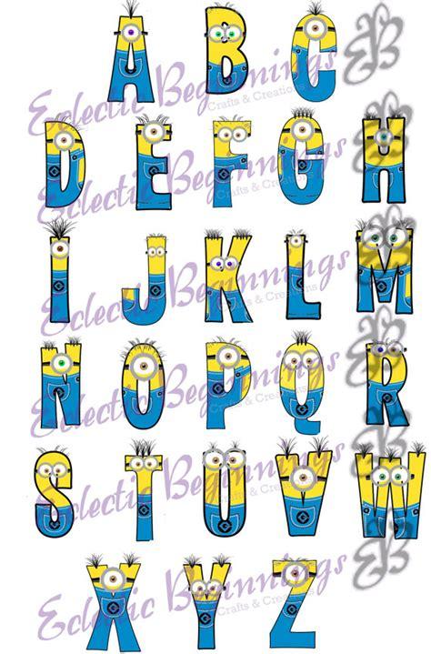 printable minion alphabet letters alphabet png digital file diy print clip art minions