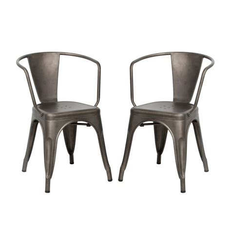 set of two metal dining chairs viva home metal dining bistro cafe side chairs set of 2