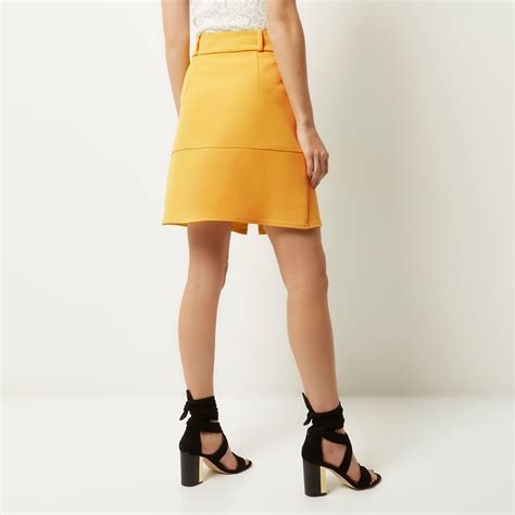 river island yellow zip up a line skirt in yellow lyst