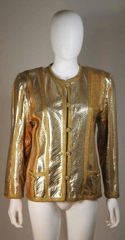 amen wardy amen wardy gold metallic foiled snakeskin jacket with knit