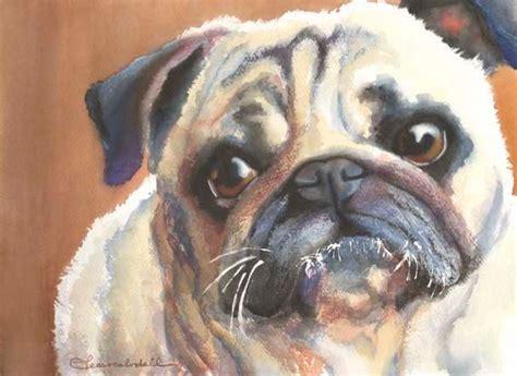 watercolor pug pug print 12x16