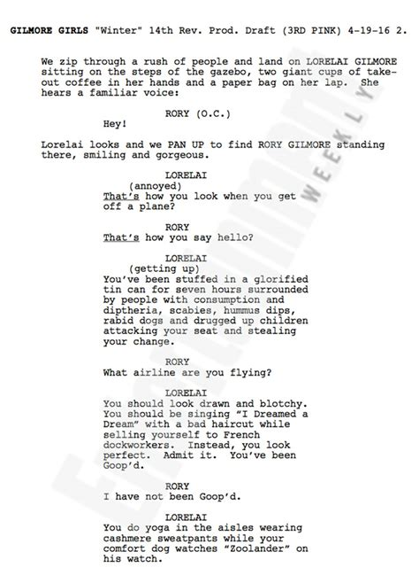 film one fine day screenplay gilmore girls amy sherman palladino shares first page of
