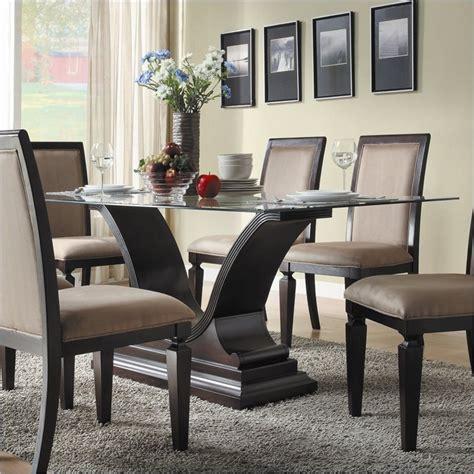 homelegance plano rectangular glass dining table in