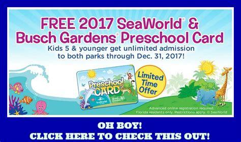 Busch Gardens Ta Promo Code by Free Seaworld And Busch Gardens Preschool Pass Looook