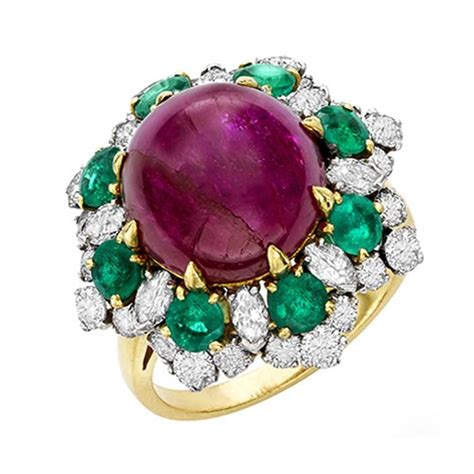 1965 bulgari ruby emerald gold dolce vita ring for