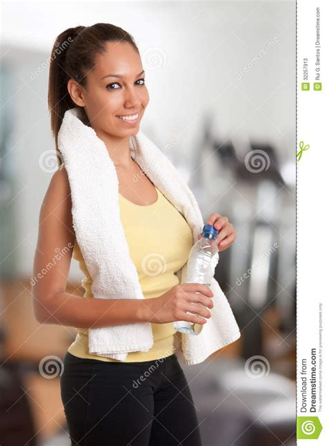 In The Bottle By Maxcyber Cloth fitness with bottle and apple stock image